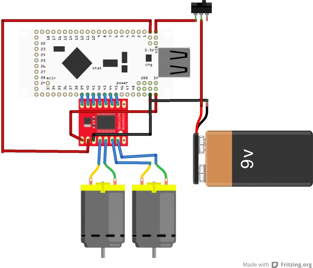 Wiring diagram between the IOIO and the TB6612FNG motor controller board